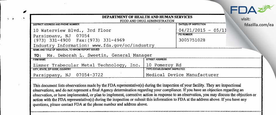 Zimmer Trabecular Metal Technology FDA inspection 483 May 2015