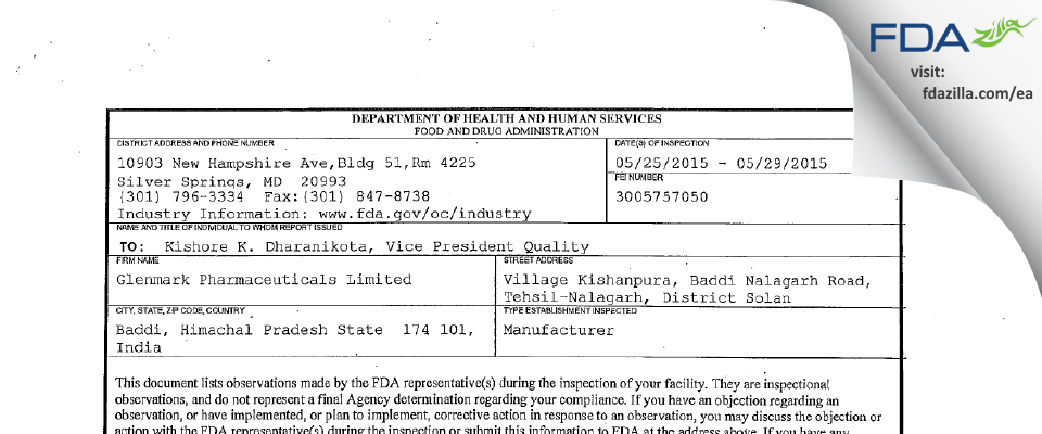 Glenmark Pharmaceuticals FDA inspection 483 May 2015