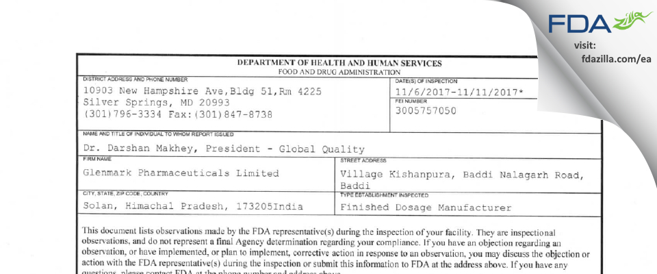 Glenmark Pharmaceuticals FDA inspection 483 Nov 2017