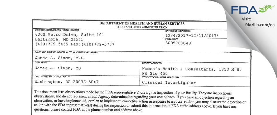 James A. Simon, MD FDA inspection 483 Dec 2017