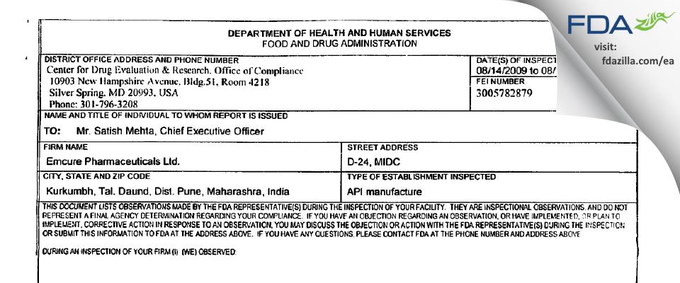 Emcure Pharmaceuticals FDA inspection 483 Aug 2009