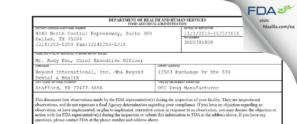 Beyond International dba Beyond Dental & Health FDA inspection 483 Nov 2018