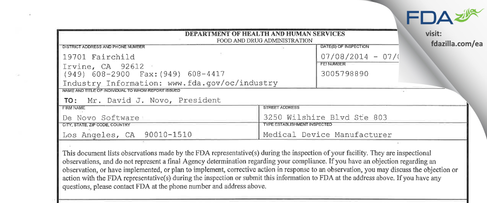 De Novo Software FDA inspection 483 Jul 2014