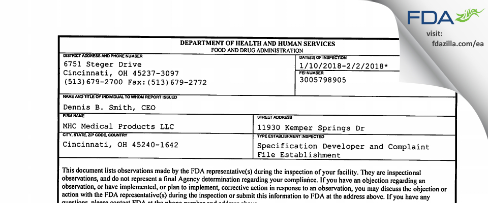 MHC Medical Products FDA inspection 483 Feb 2018