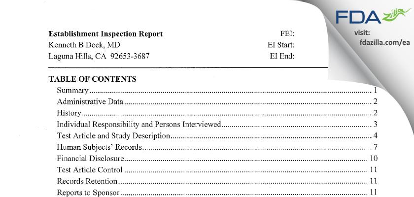 Kenneth B. Deck, MD FDA inspection 483 Apr 2013