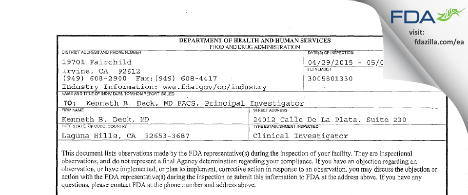 Kenneth B. Deck, MD FDA inspection 483 May 2015