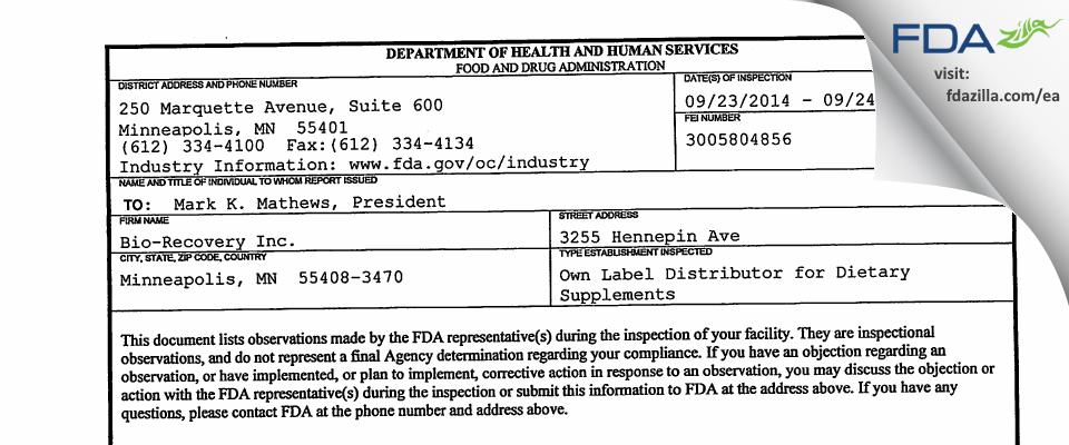 Bio-Recovery FDA inspection 483 Sep 2014