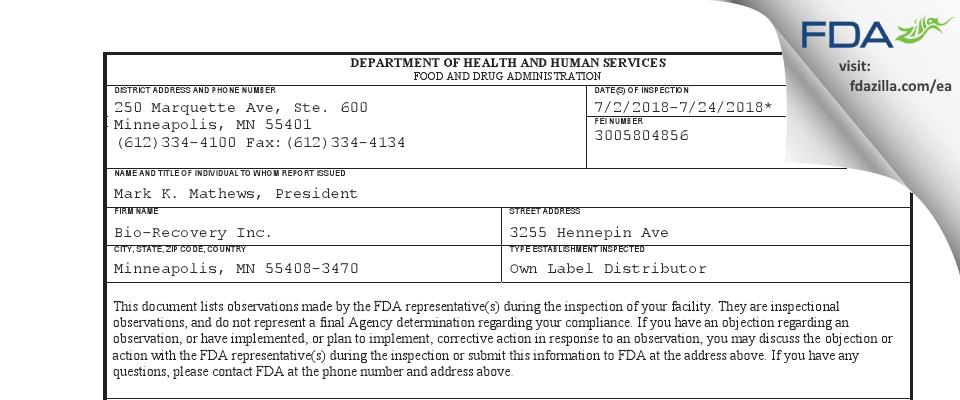 Bio-Recovery FDA inspection 483 Jul 2018