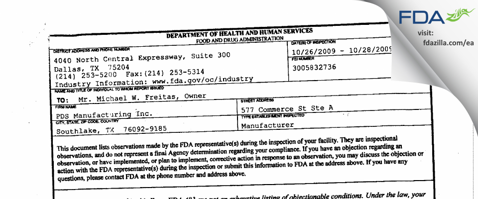 PDS Manufacturing FDA inspection 483 Oct 2009