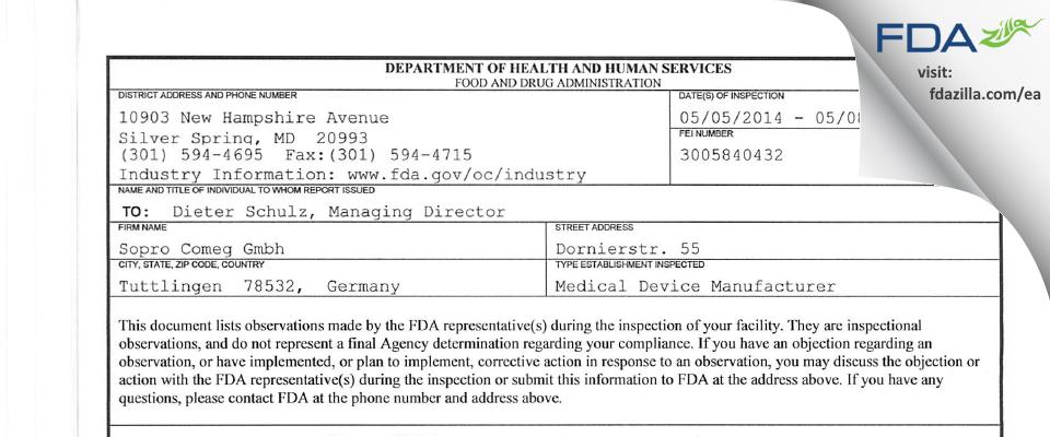 Sopro Comeg Gmbh FDA inspection 483 May 2014