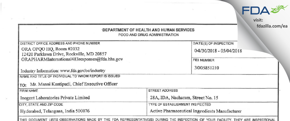 Inogent Labs Private FDA inspection 483 May 2018