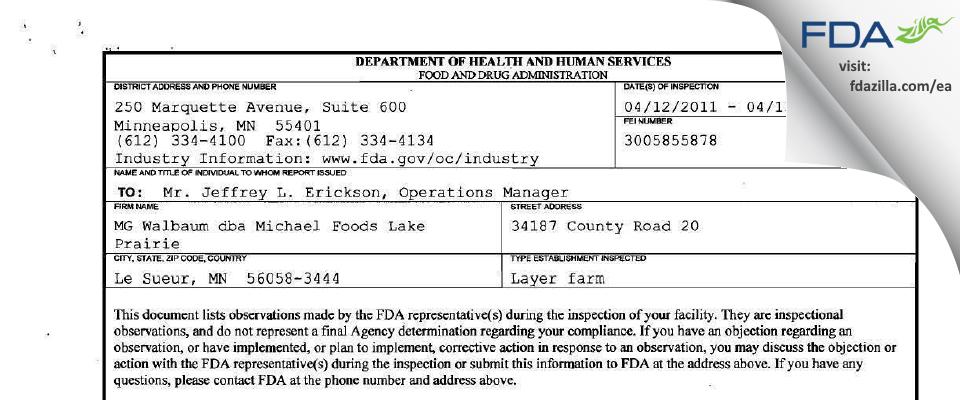 M. G. Waldbaum Company FDA inspection 483 Apr 2011