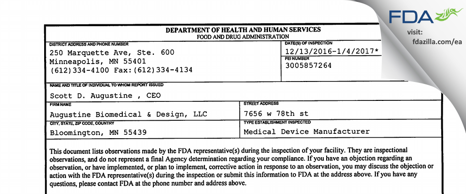 Augustine Biomedical & Design FDA inspection 483 Jan 2017