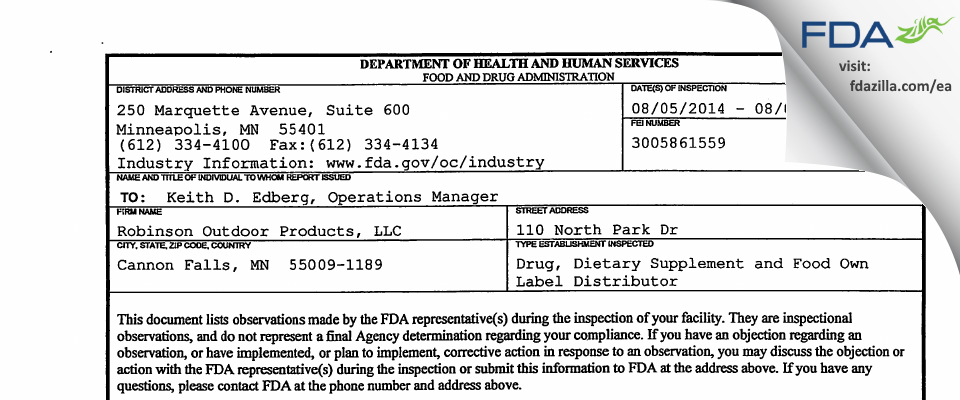 Robinson Outdoor Products FDA inspection 483 Aug 2014