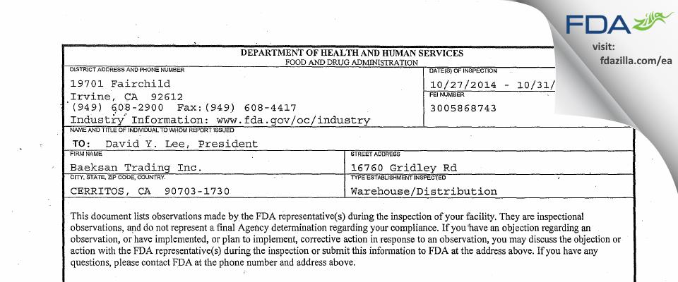 Baeksan Trading FDA inspection 483 Oct 2014