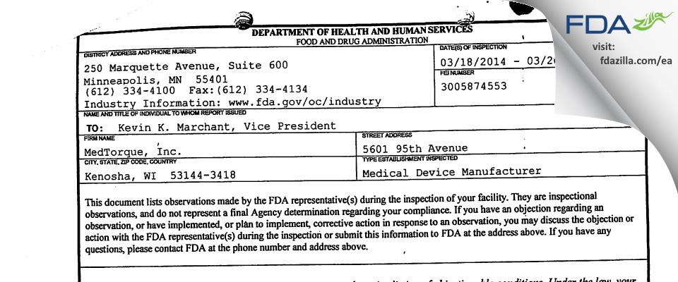 MedTorque FDA inspection 483 Mar 2014