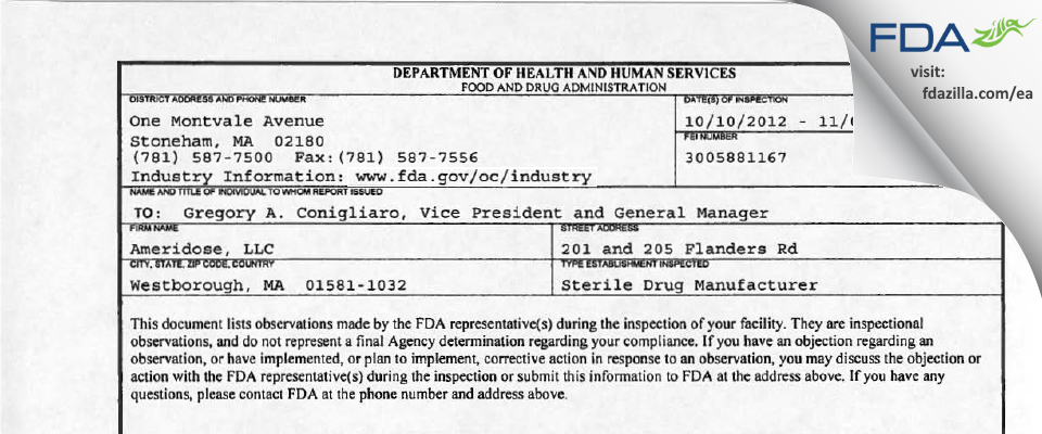 Ameridose FDA inspection 483 Nov 2012