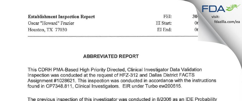 "Oscar ""Howard"" Frazier FDA inspection 483 Jun 2009"