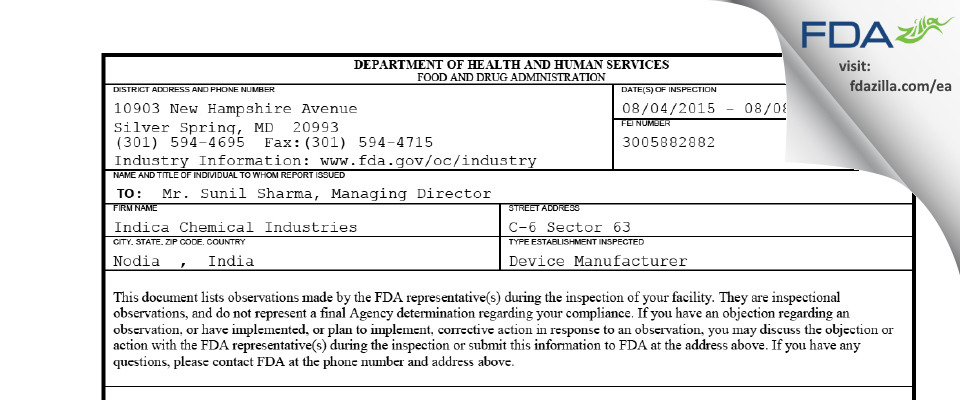 Indica Chemical Industries FDA inspection 483 Aug 2015