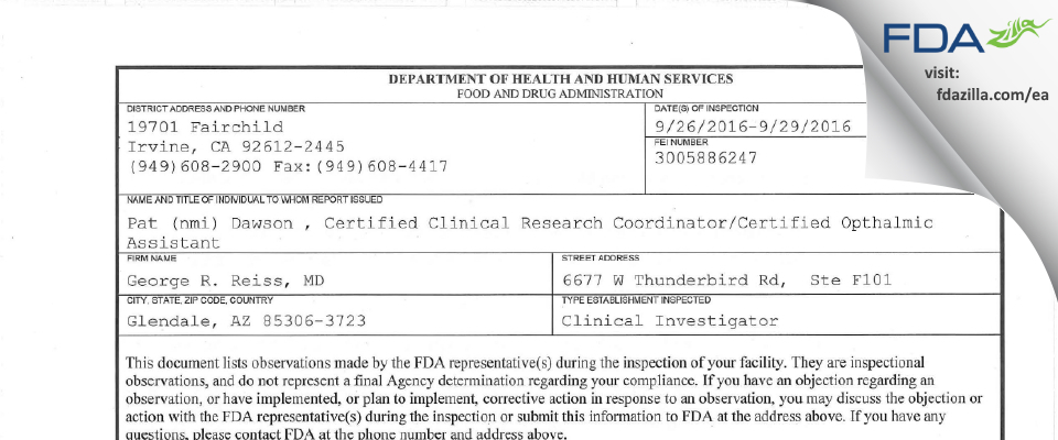 George R. Reiss, MD FDA inspection 483 Sep 2016