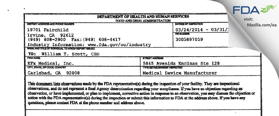 KFx Medical FDA inspection 483 Mar 2014