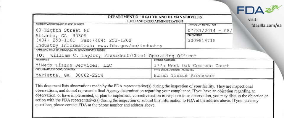 MiMedx Group FDA inspection 483 Aug 2014