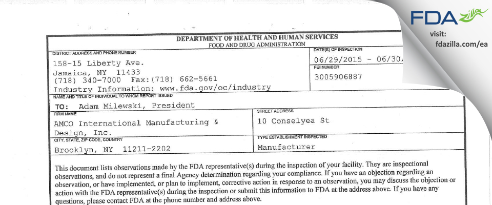 AMCO International Manufacturing & Design FDA inspection 483 Jun 2015