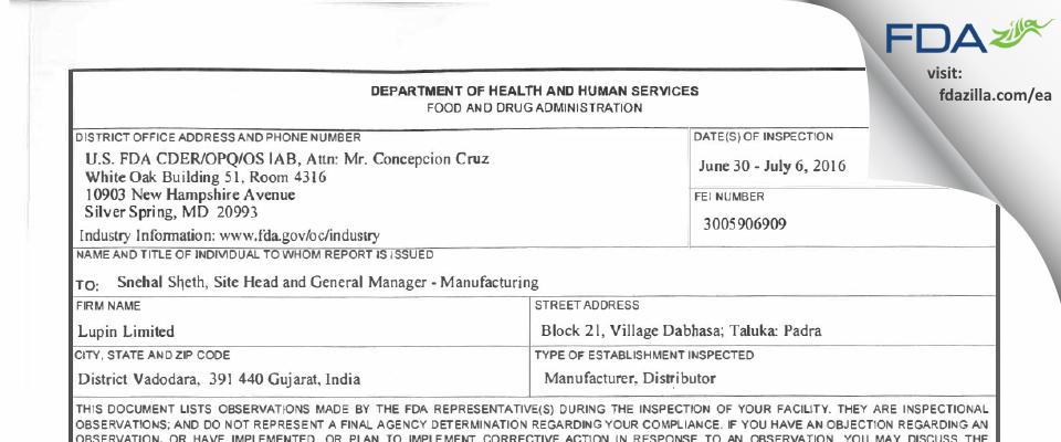 Lupin FDA inspection 483 Jul 2016