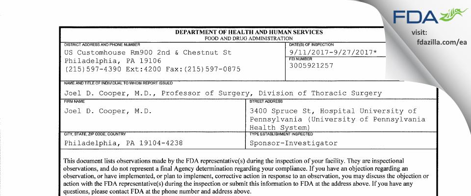 Joel D. Cooper, M.D. FDA inspection 483 Sep 2017