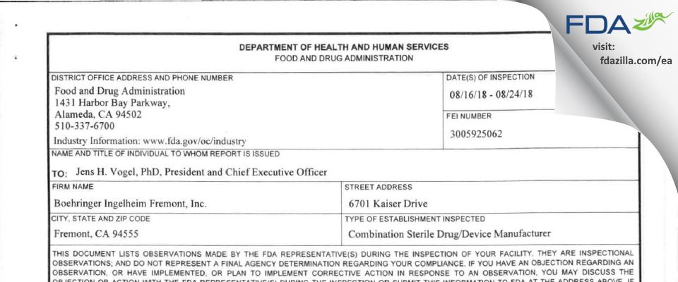 Boehringer Ingelheim Fremont FDA inspection 483 Aug 2018