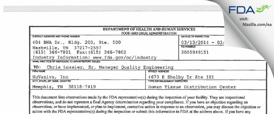 NuVasive FDA inspection 483 Mar 2014