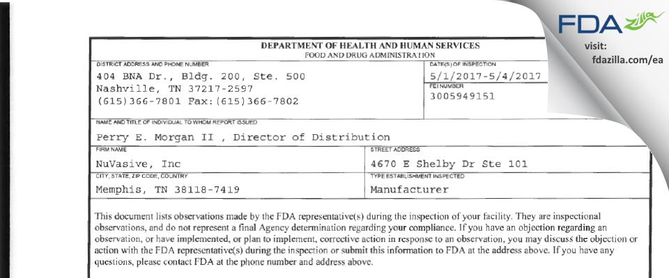 NuVasive FDA inspection 483 May 2017