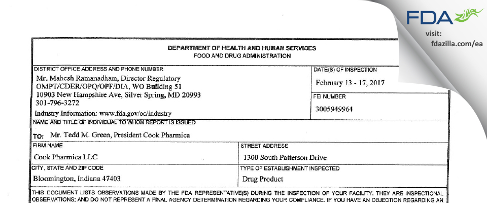 Catalent Indiana FDA inspection 483 Feb 2017