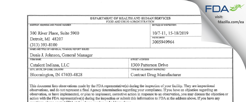 Catalent Indiana FDA inspection 483 Oct 2019
