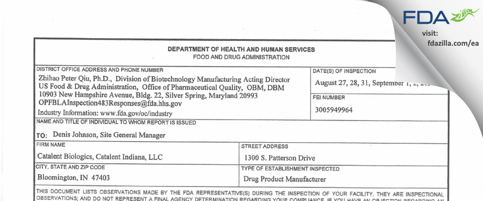 Catalent Indiana FDA inspection 483 Sep 2020