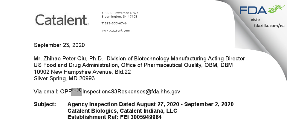 Catalent Indiana FDA inspection 483 Sep 2020