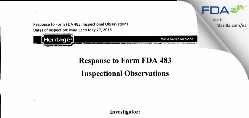 Heritage Pharmaceuticals FDA inspection 483 May 2015