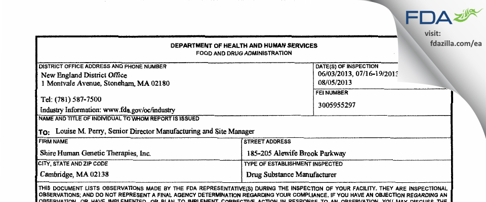 Shire Human Genetic Therapies FDA inspection 483 Aug 2013