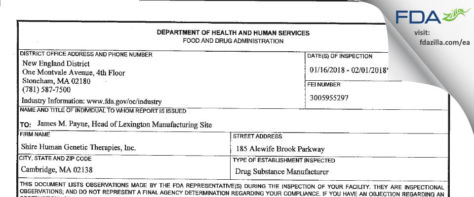 Shire Human Genetic Therapies FDA inspection 483 Feb 2018