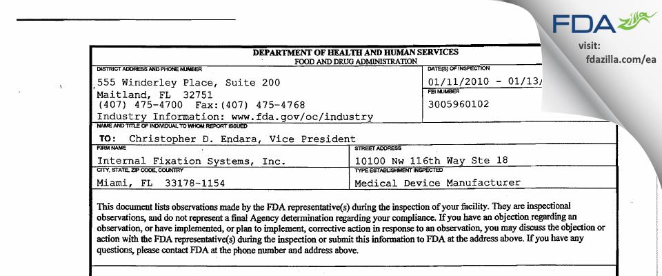 Internal Fixation Systems FDA inspection 483 Jan 2010