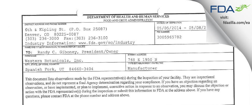 Western Botanicals FDA inspection 483 May 2014
