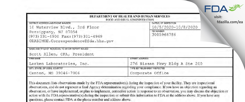 Larken Labs FDA inspection 483 Oct 2020