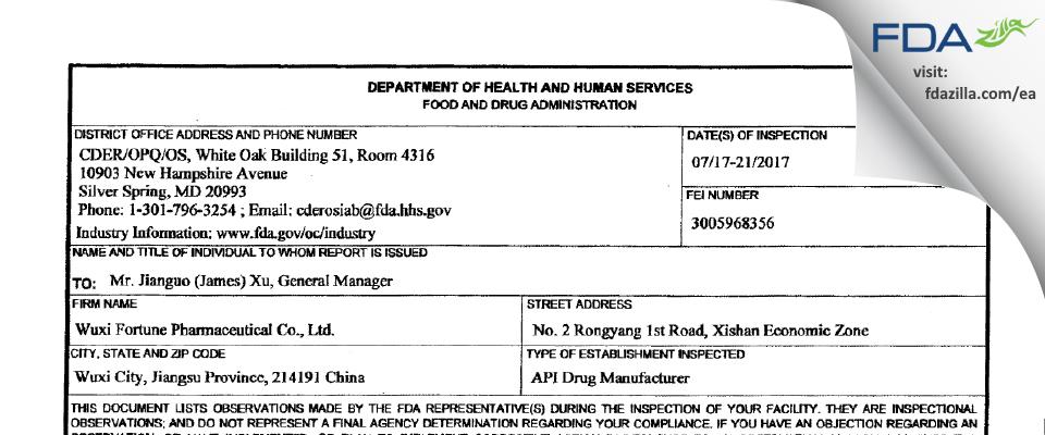 Wuxi Fortune Pharmaceutical FDA inspection 483 Jul 2017