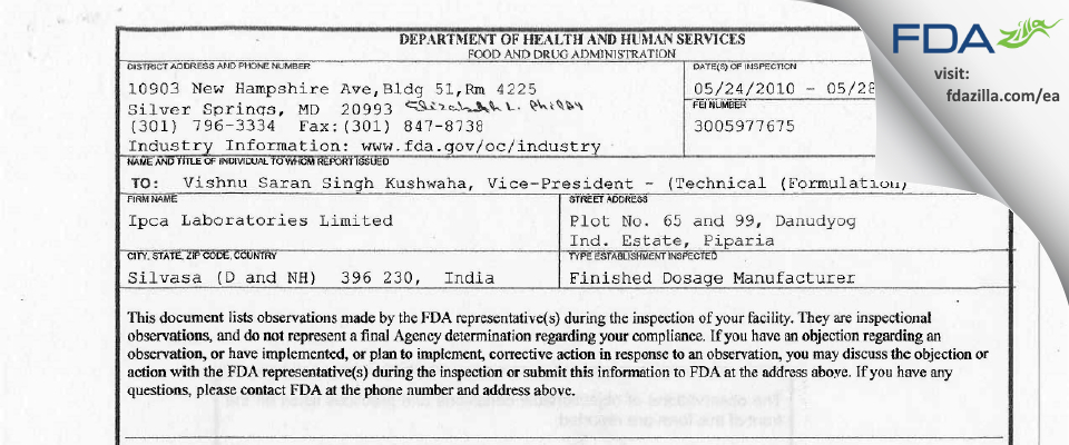 Ipca Labs FDA inspection 483 May 2010
