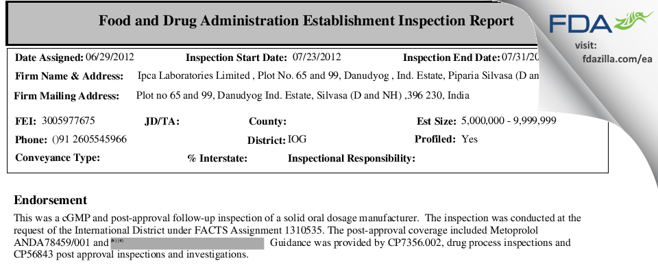 Ipca Labs FDA inspection 483 Jul 2012