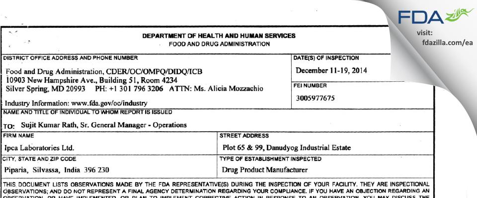 Ipca Labs FDA inspection 483 Dec 2014