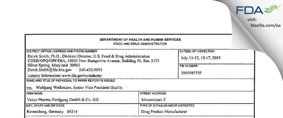 Vetter Pharma-Fertigung & KG FDA inspection 483 Jul 2019