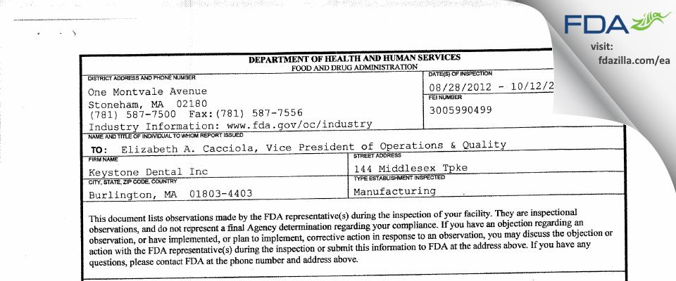 Keystone Dental FDA inspection 483 Oct 2012