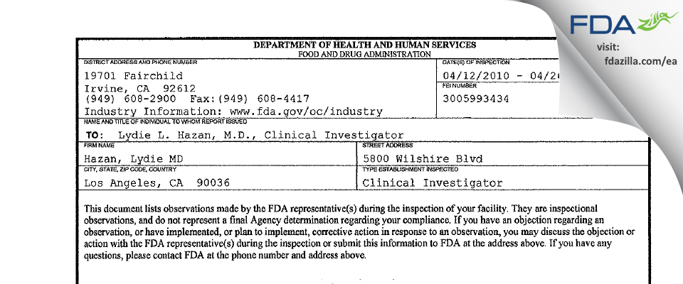 Lydie L. Hazan, M.D. FDA inspection 483 Apr 2010