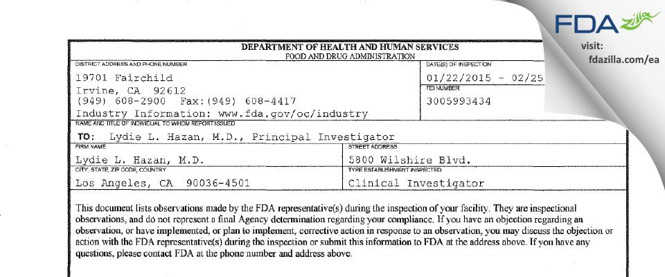 Lydie L. Hazan, M.D. FDA inspection 483 Feb 2015